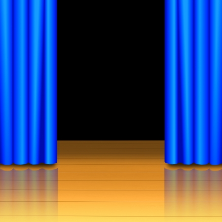 Blue curtain open on wood stage with black isolated photo