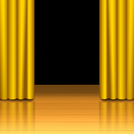 Golden curtain open on wood stage with black isolated photo