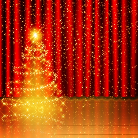 Golden Christmas tree background on red curtain and wood stage