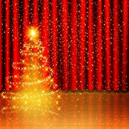 Goldene Weihnachtsbaumhintergrund auf roter Vorhang und Holzstufe