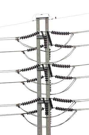 megawatts: Power electric  pole isolated on white  Stock Photo