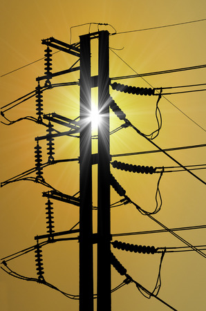 megawatts: Power electric  pole with sunset Stock Photo