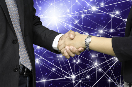business people shaking hand on global business  photo