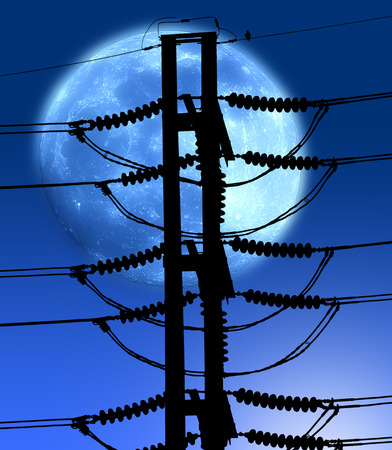 megawatts: Power electric  pole with big blue moon Stock Photo