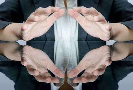 spirit medium: Business people with protect the light under hand