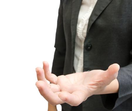 Geschäftsleute halten Hand auf weißem backgroung Lizenzfreie Bilder