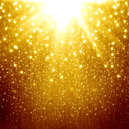 golden light: golden christmas background with star Stock Photo