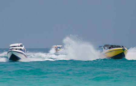 pattaya thailand: Speed boat in Tawaen beach, Koh larn Island, Pattaya, Thailand