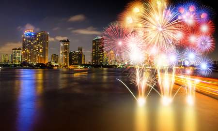 phraya: Chao Phraya River night scene with  beautiful  fireworks city view at Bangkok Thailand