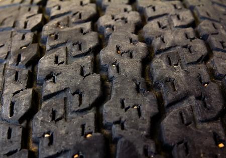 Closeup of black car tire photo