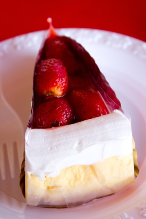 strawberry cheesecake on a plate photo