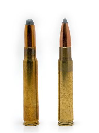 caliber: Hunting cartridges - same caliber, different bullet Stock Photo