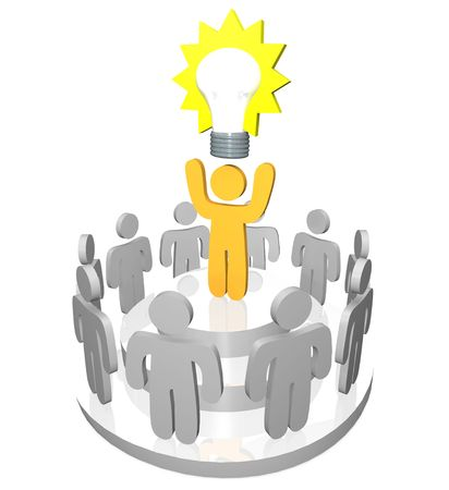 one team: 3D render of one person presenting the Big Idea in the form of a light bulb to a gathering of team members and co-workers