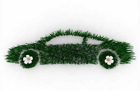 Environmentally friendly car 3D render composed of blades of grass, symbolizing the green movement. Stockfoto