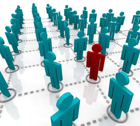 merger: Large Network of People Showing Connected Relationships Stock Photo