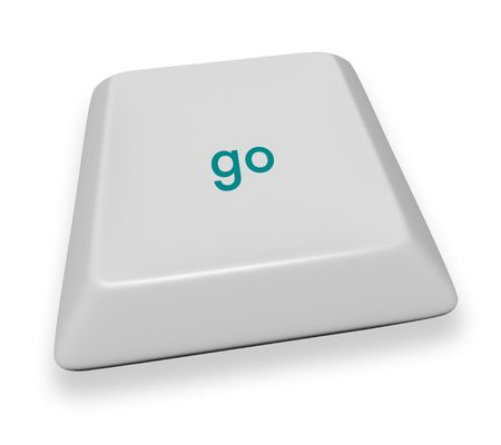 A gray computer keyboard button reading the word go photo