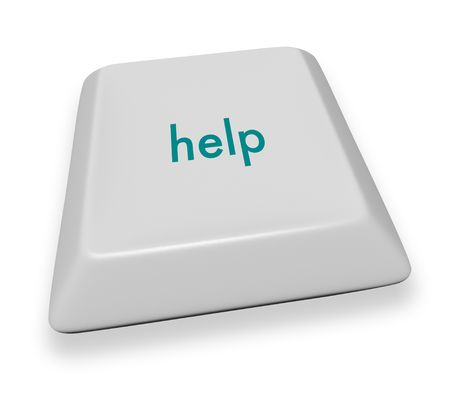 A gray computer keyboard button reading the word help photo