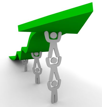 cooperate: Several figures team up to push up a green arrow, symbolizing teamwork and growth Stock Photo