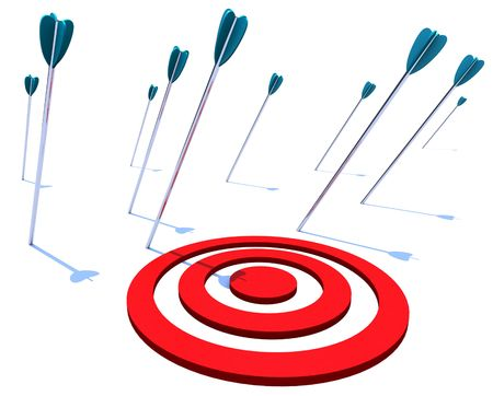 bull's eye: Many arrows miss their intended target, symbolizing a goal not achieved Stock Photo