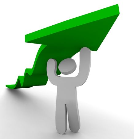 One figure pushes up a green arrow symbolizing growth Stock Photo - 3901962