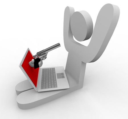 online privacy: A hand comes out of laptop to point gun at its user, representing online fraud  theft