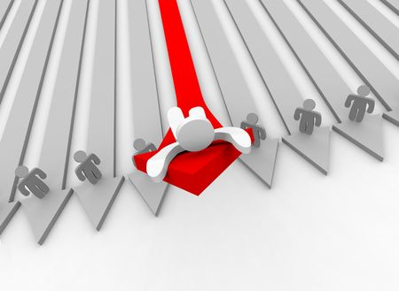 salespeople: A single figure rides up a shooting arrow of growth