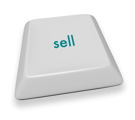 A gray computer keyboard button displaying the word sell Stock Photo - 3901977