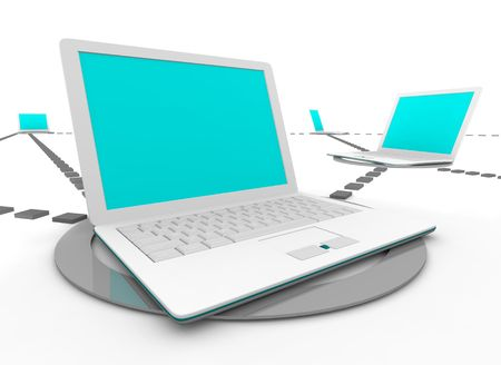 instant messaging: Several white laptop computers connected in a social network