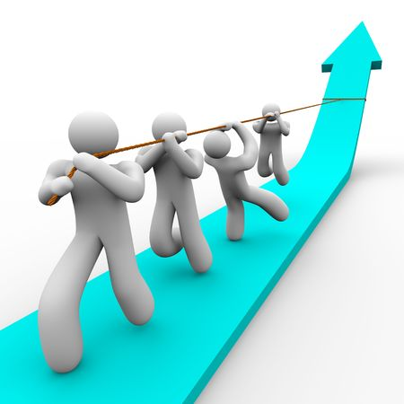 cooperate: A team works together to pull up a growth arrow Stock Photo