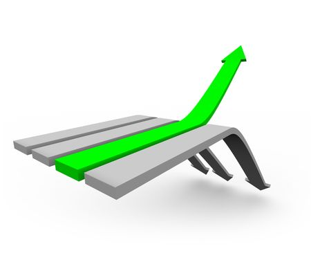 downward: One green arrow rises up from a series of arrows heading downward. Stock Photo