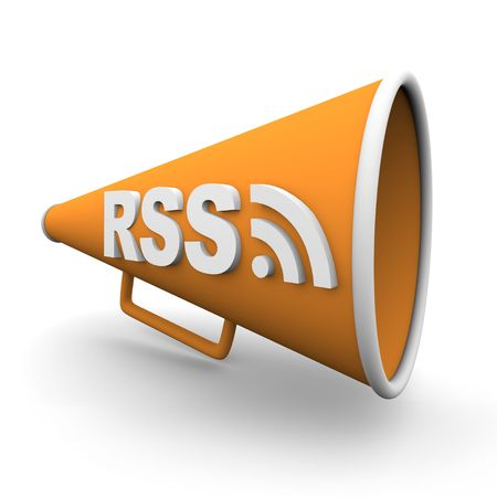 bullhorn: A orange bullhorn or megaphone with the word rss on it, on white background Stock Photo