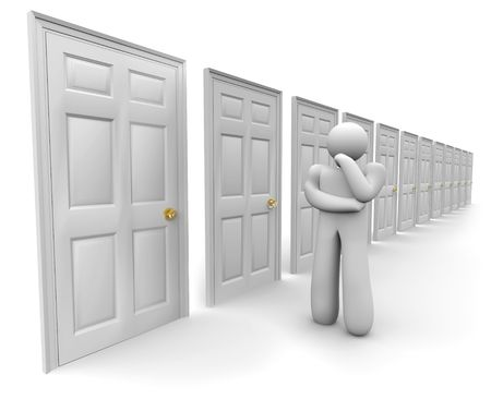 attempting: A figure stands before a row of doors attempting to decide which one to choose