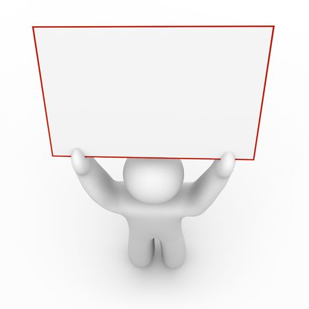 A white figure holds a blank sign that can include your message. Stock Photo - 4182583