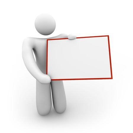 A white figure holds a blank sign that can include your message Stock Photo - 4182582