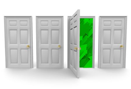 choose a path: Four doors stand before you... choose the right one that leads to success! Stock Photo