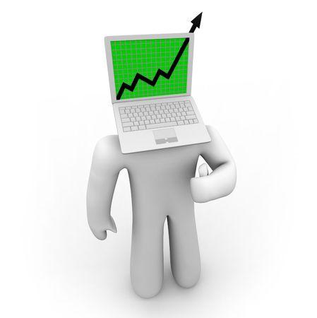 A growth arrow bursts through a laptop computer screen atop a figure's body.