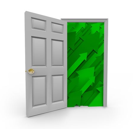 path to wealth: A white doorway is opened to reveal a number of upward growth arrows