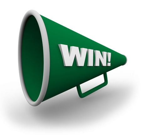 horns: A green bullhorn with the word win on the side of it