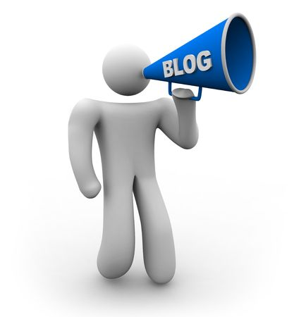 A blogger holds a bullhorn with the word blog on it photo