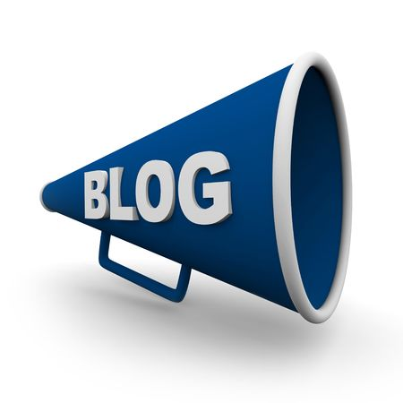 moderator: A blue bullhorn or megaphone with the word blog on it, on white background Stock Photo