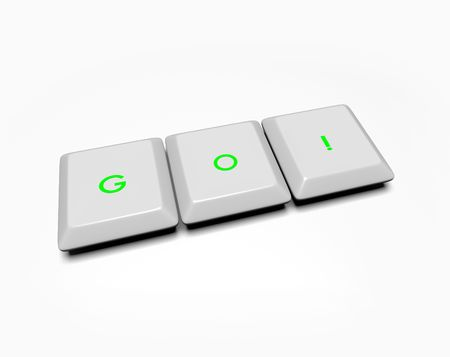 Computer keyboard keys spell out the word Go photo