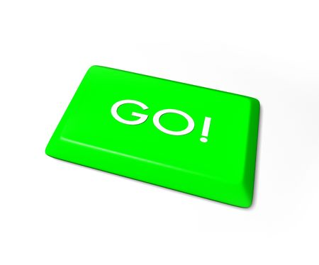 compute: A green go key from a computer keyboard, isolated on white background