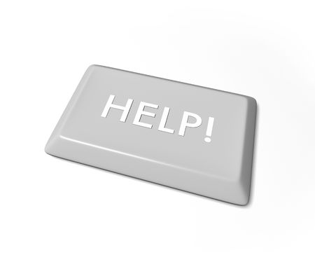 A help key from a computer keyboard, isolated on a white background. photo