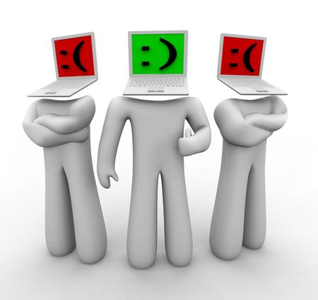 disapprove: One figure with a laptop head features a smiley face in leet speak, while two others frown. Stock Photo