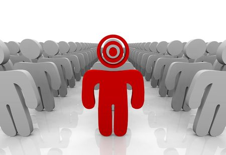 targeting: One customer in a group is targeted with a bulls-eye on his head, symbolizing the targeting of a consumer