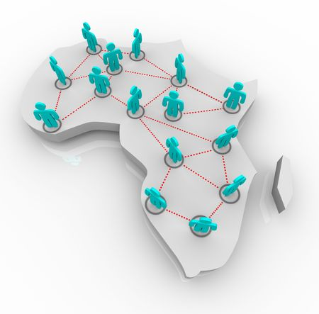 map of africa: A map of Africa on white with a network of people standing atop it.