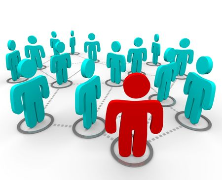 A red figure stands at the forefront of a group of blue figures, all interconnected in a social network. Stock Photo - 4182612
