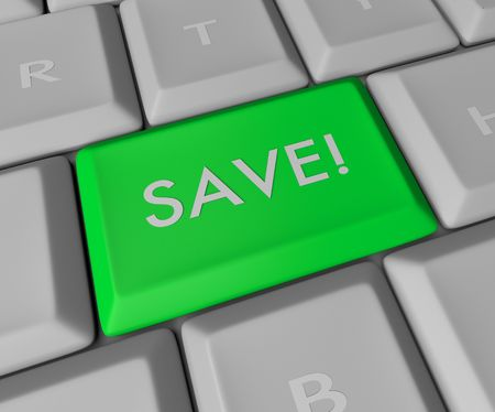 A blue button reading SAVE on a computer keyboard Stock Photo - 4182630