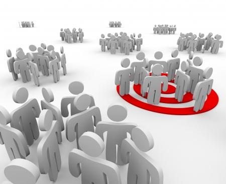 target business: Un grupo se dirige a la comercializaci�n de extensi�n con una diana en virtud de las cifras Foto de archivo
