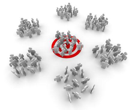 Un grupo de clientes de pie en un ojo de buey de destino rojo, con otros grupos reunieron en torno al azar.  Foto de archivo